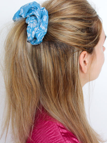 Cirrus - Vintage Scrunchy in Blue with White Floral Print - Staying Alive Vintage