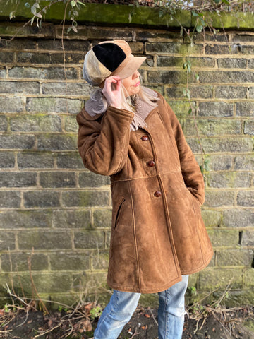 Julie - Vintage Suede Winter Coat in Brown