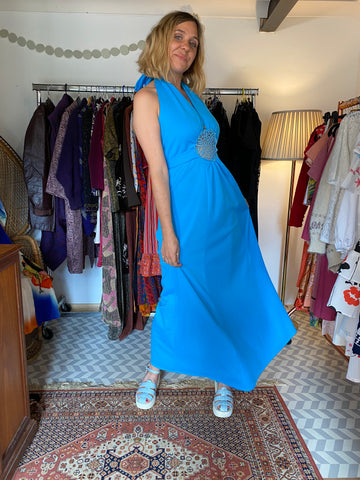 Delilah - Vintage 60's Boho Maxi dress in Blue - Staying Alive Vintage