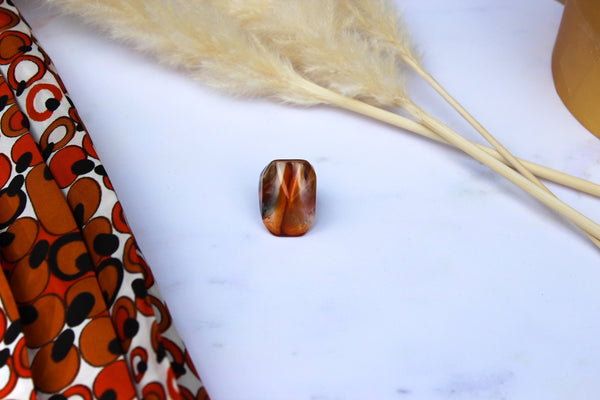 Emily - Vintage Marble Effect Plastic Ring in Beige and Browns - Staying Alive Vintage