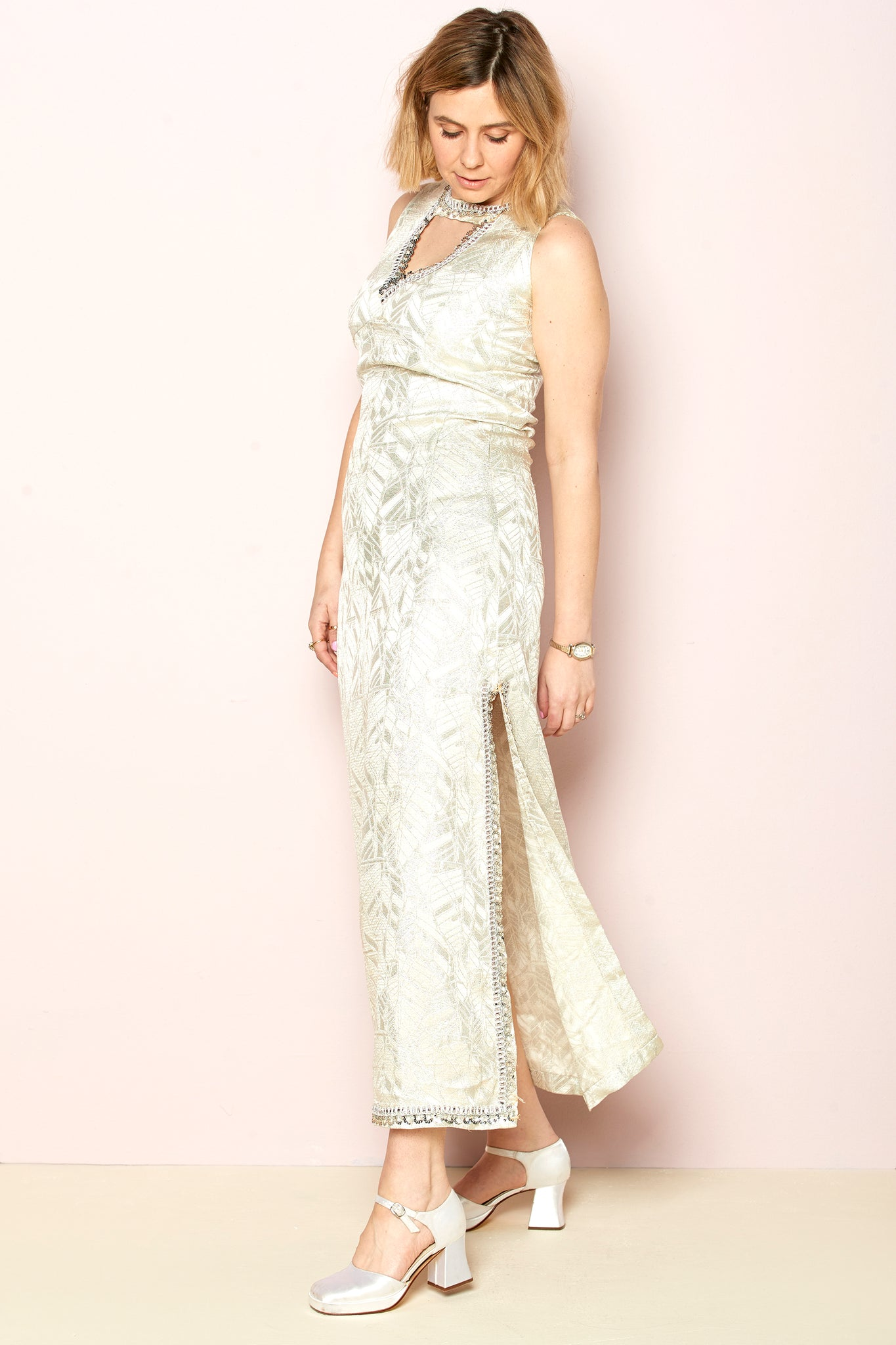 Paloma - Vintage Cocktail Maxi Dress in Silver with Embellishment - Staying Alive Vintage