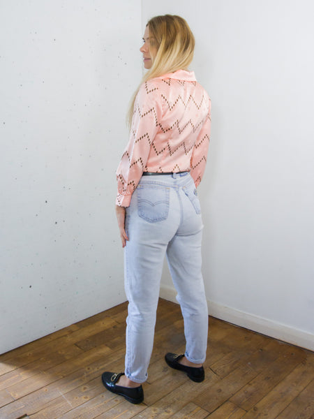 Macaroon - Vintage 70's Satin Blouse in Pink with Paris Print - Staying Alive Vintage