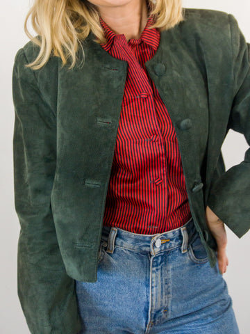 Jane Austen - Vintage 80s Suede Power Jacket in Emerald Green - Staying Alive Vintage