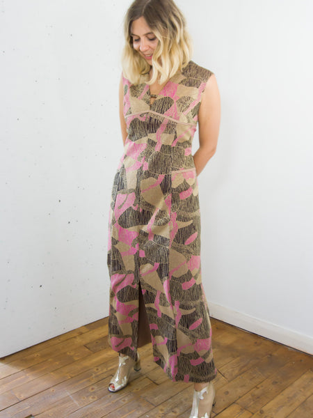Buttercup - Vintage 70s Lurex Maxi Dress in Pink and Brown - Staying Alive Vintage