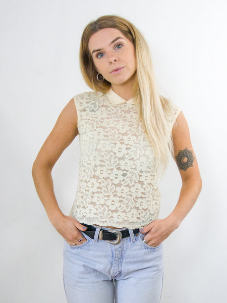 Ribbon - Vintage 70s Floral Lace Blouse in Cream - Staying Alive Vintage