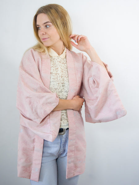 Love heart - Vintage 70s Short Kimono in Pink - Staying Alive Vintage