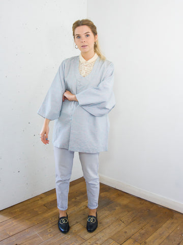 Blossom - Vintage 70s Short Kimono in Baby Blue - Staying Alive Vintage