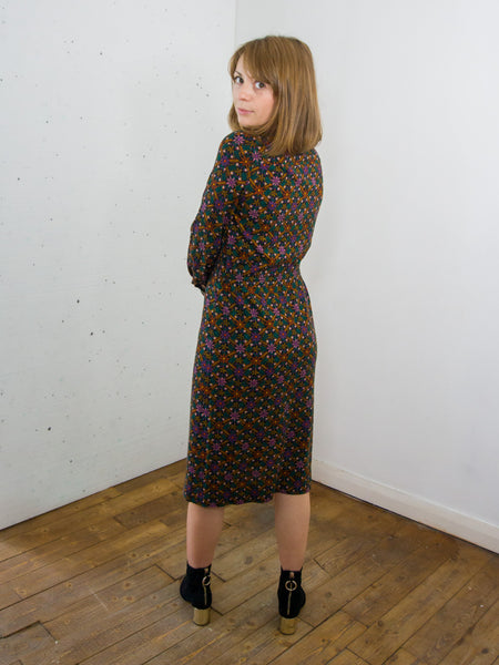 October - Vintage Floral Midi Dress in Black - Staying Alive Vintage
