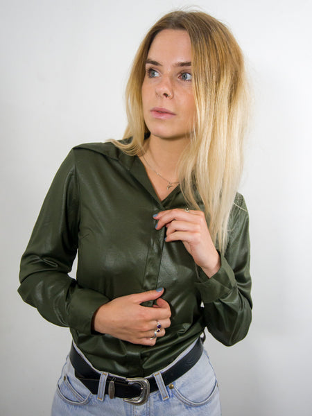 Bessie Coleman - Vintage 90s Shiny Blouse in Green - Staying Alive Vintage