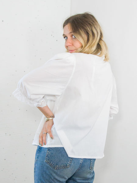 Lelia - Vintage Blouse in White with Lace Detail - Staying Alive Vintage