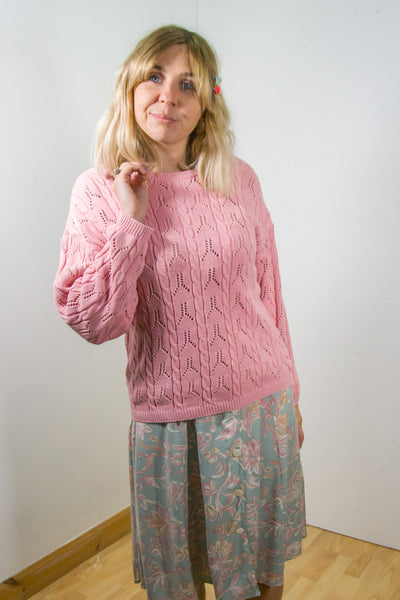 Maddison - 90's Knitted Oversized Jumper in Pink - Staying Alive Vintage