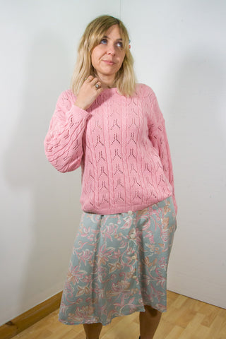 Maddison - 90's Knitted Oversized Jumper in Pink