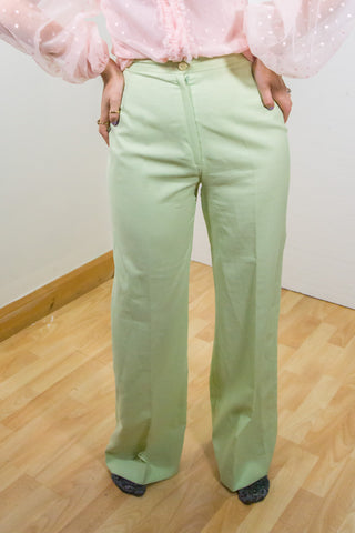 Genna - 70's Straight Trousers in Green
