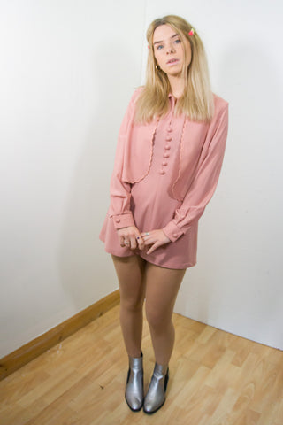 Lynn - 60's Reworked Dress in Pink with Waist Coat