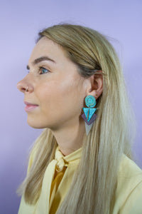 Elvia - 80's Retro Earrings in Blue - Staying Alive Vintage