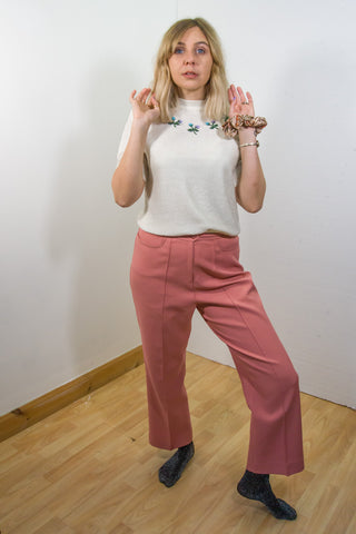 Gayle - 70's Straight Trousers in Pink with Cute Pocket Detail