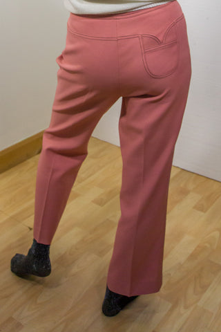 Gayle - 70's Straight Trousers in Pink with Cute Pocket Detail - Staying Alive Vintage