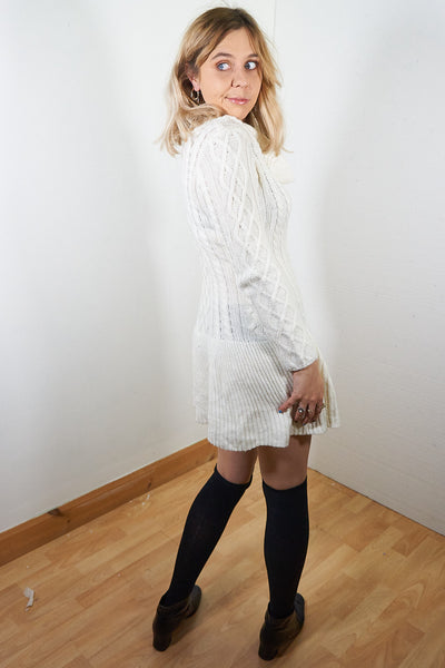 Faye - Vintage 90's Soft Knitted Dress in Cream