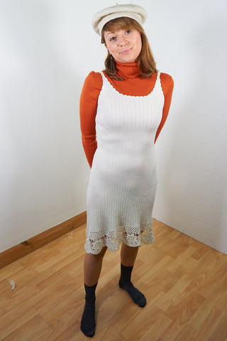 Leila - Vintage 90s Knitted Dress with Crochet Detail