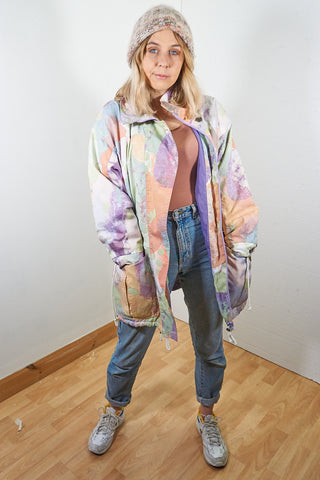 Ellie - Vintage 90s Rain Coat with Multi Coloured Abstract Print