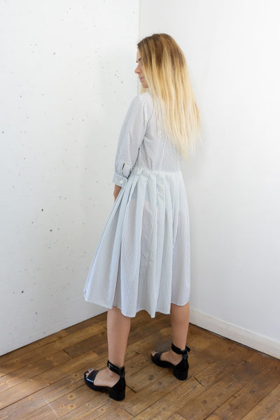 Doodle - Vintage 70s Midi Dress in White with Blue Strips