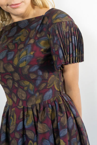 Peach - Vintage 60's Midi Dress in Brown with Pleated Sleeves - Staying Alive Vintage