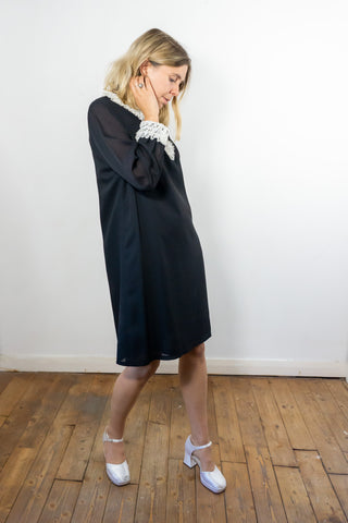 Mistletoe - Vintage Midi Dress in Black with White Ruffles - Staying Alive Vintage