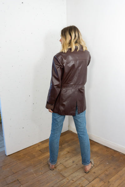 Conkers  - Vintage 70s Leather Jacket in Deep Purple - Staying Alive Vintage