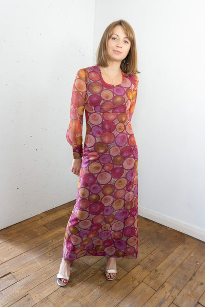 Cherry - Vintage 60's Mesh Maxi Dress in Pink - Staying Alive Vintage