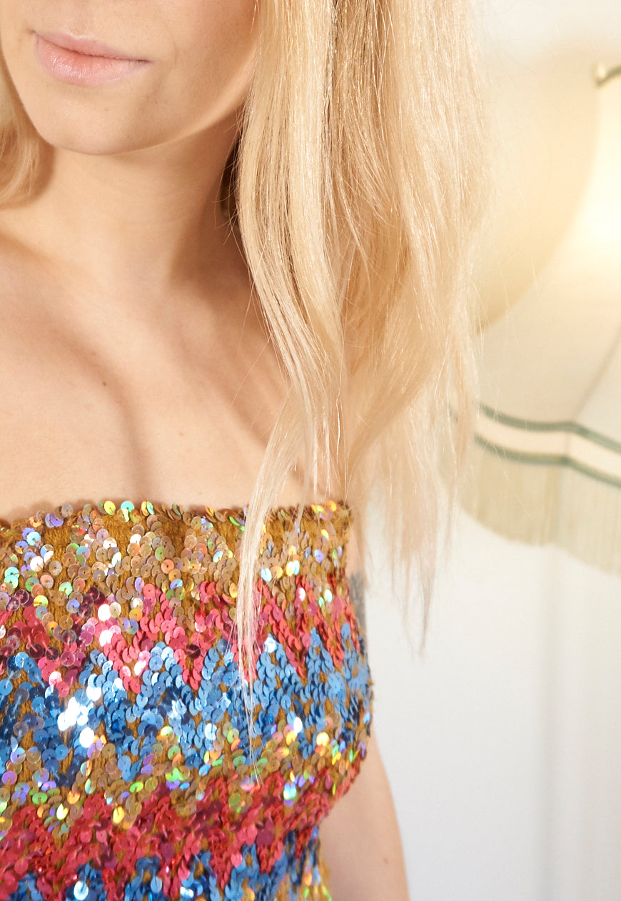 Mabel 1990's Glitter Rainbow Tube Top - Staying Alive Vintage