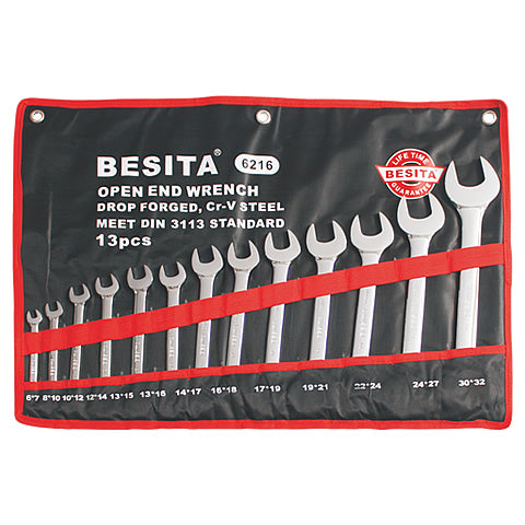 BESITA 6216 13 PCS METRIC OPEN END WRENCH SET