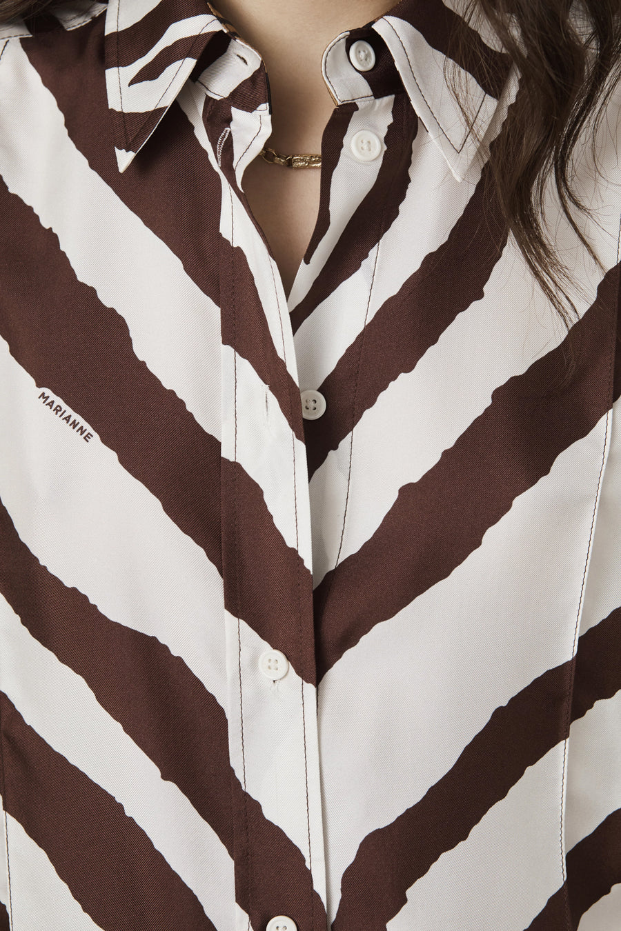 CLASSIC CHOCOLATE PRINT - Marianne - Luxury Women's Silk Tailored Shirts and Scarves