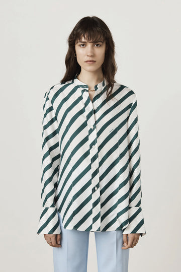 REVERSE TUXE GREEN STRIPE - Marianne - Luxury Women's Silk Tailored Shirts and Scarves