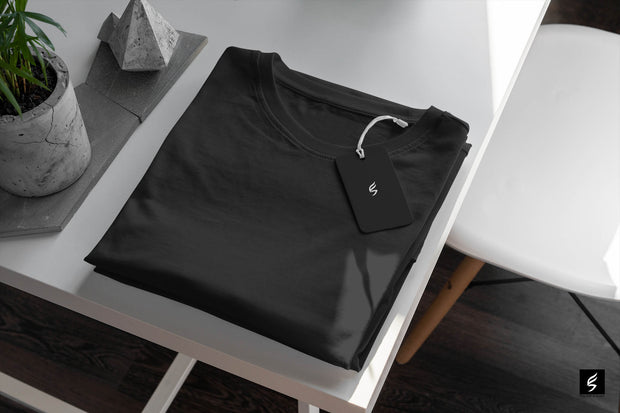 Plain Black Round Neck Men's T-shirt