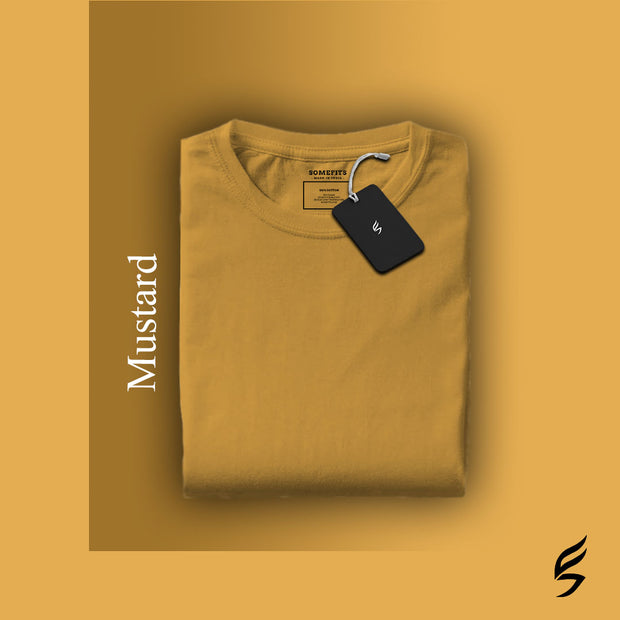 Unisex Solid Mustard Round Neck Short-Sleeved T-shirt
