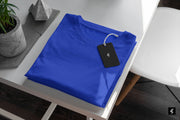 Unisex Royal Blue Round Neck Short-Sleeved  Plain T-shirt
