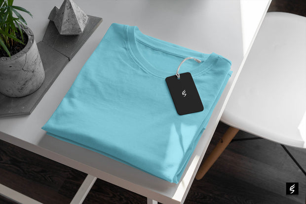 Unisex Sky Blue Round Neck Short-Sleeved  Plain T-shirt