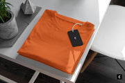 Orange Plain Round Neck Short-Sleeved T-shirt