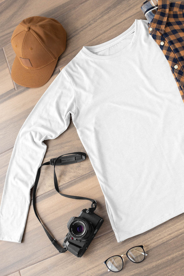 Classy Solid White Round Neck Full-sleeved  Unisex T-shirt