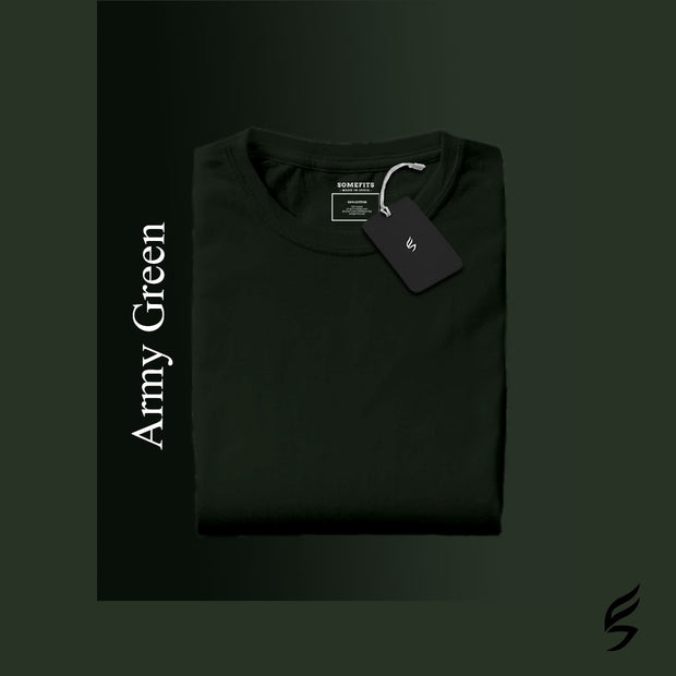 Army Green Round Neck Short-Sleeved  Plain T-shirt