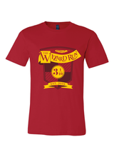 Red Wizard Run Virtual 5k shirt with wand and finisher medal.