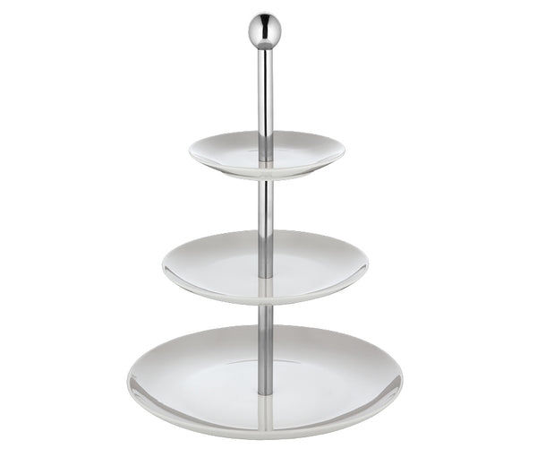 Cilio EtagereTiered Stand Fireproof Hard Porcelain White S/S Bar 15,20,27x39cm