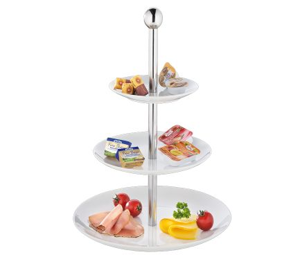 "Cilio ""Etagere"" Tiered Stand Fireproof Hard Porcelain White S/S Bar 15,20,27x39cm"