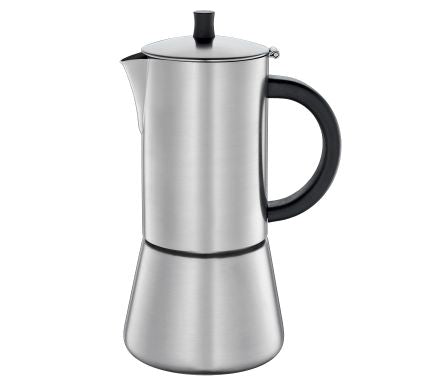 Cilio FigaroEspresso Maker, S/Steel Satin Finish w/Plane Bottom  10.5x22cm - 6 Cups