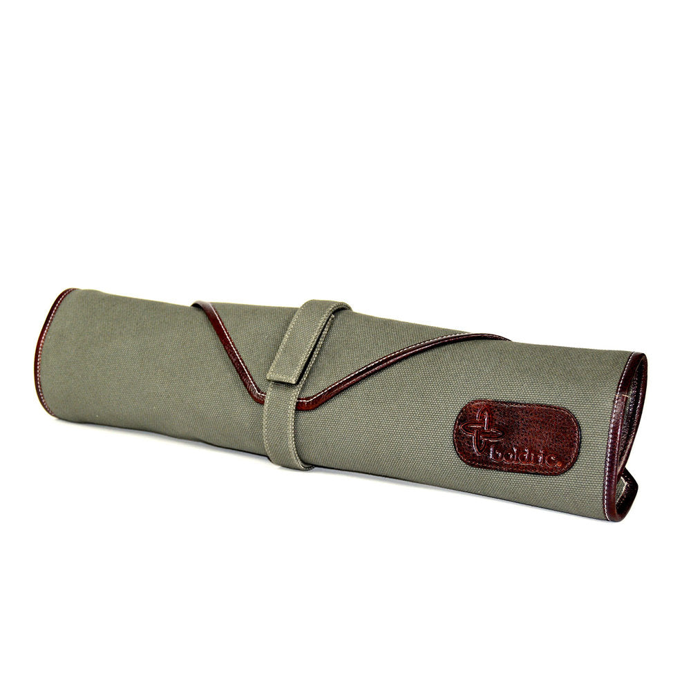 Boldric Canvas 6 Slot Knife Bag, Green