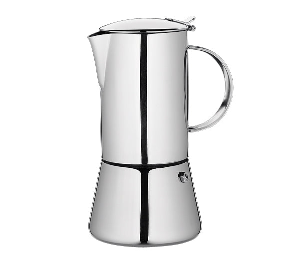 "Cilio ""Aida"" Espresso Maker, S/Steel Mirror Polished w/Plane Bottom  9.5x17.5cm - 4 Cups"