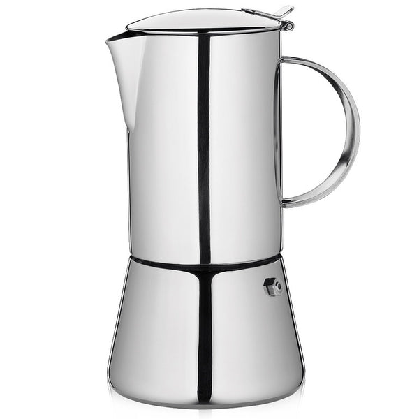 "Cilio ""Aida"" Espresso Maker, S/Steel Mirror Polished w/Plane Bottom  13x24cm - 10 Cups"