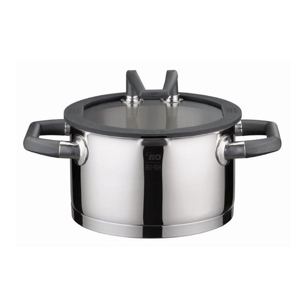 "Elo Black Pearl"""" Casserole High w/Glass Lid  24cm"