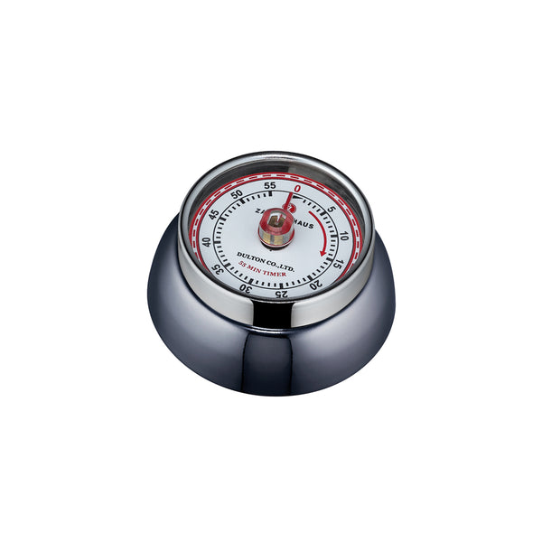 "Zassenhaus ""Speed"" Kitchen Timer w/Magnet Enameled Steel Carbon-Coloured 3x Ø 7cm"