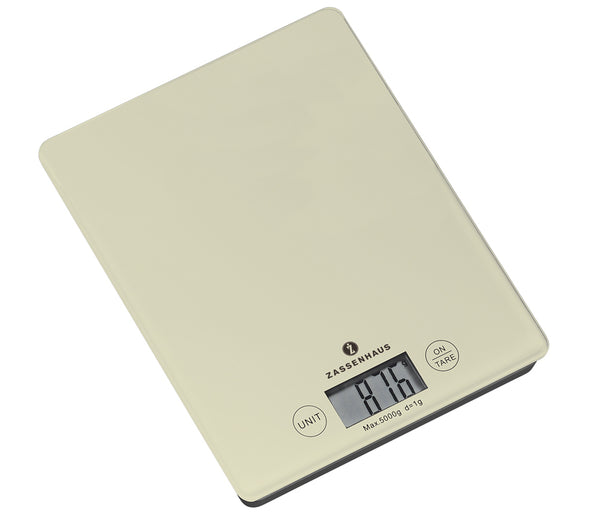 Zassenhaus Balance PastellDigital Scale LCDisplay Shatter Proof Glass Surface Off-White